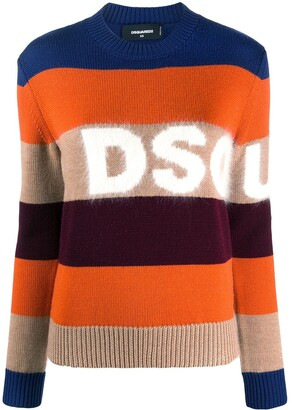 DSQUARED2 Striped Wool Blend Logo Jumper