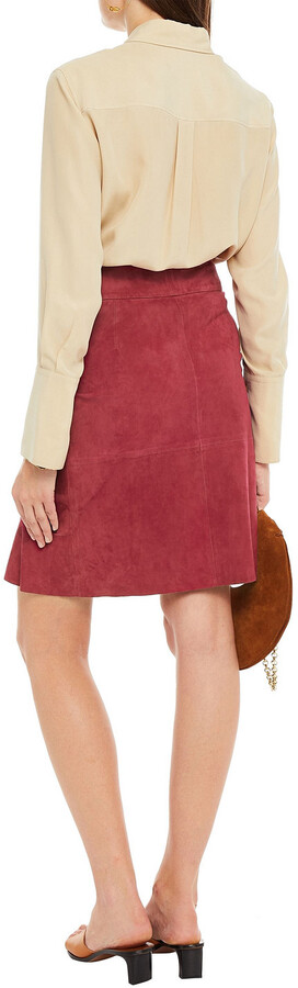 Thumbnail for your product : BA&SH Susette Wrap-effect Ruffled Suede Skirt