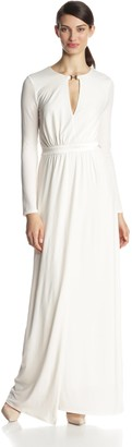 Halston Women's Long Sleeve Jersey Evening Gown with Slit Front