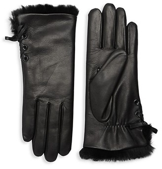 Agnelle Aliette Rabbit Fur-Lined Leather Gloves