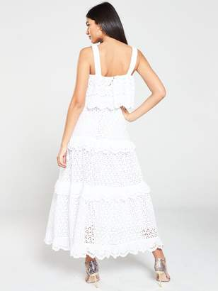 Very Broderie Tiered Midaxi Dress - Ivory