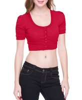 Ambiance Apparel Solid Cotton Shirred Ruched Short Sleeve Button Down Cropped Cardigan S