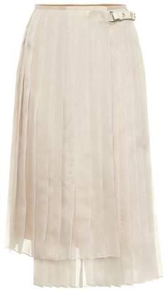 Fendi Pleated silk midi skirt
