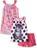 Komar Kids Big Girls 3 Piece Sleepwear Set Cat Short Set with Sunglass Print Gown