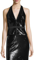 Halston Sequined Split-Neck Halter Top, Black Metallic