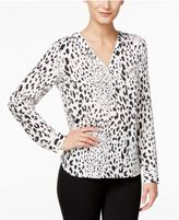 INC International Concepts Printed Zip-Front Blouse, Created for Macy's