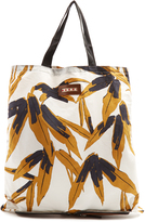 Marni Self-stowing cotton and leather tote