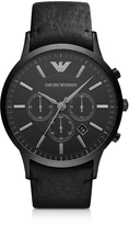 Emporio Armani Black Stainless Steel & Leather Strap Men's Watch