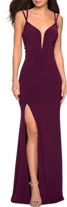 La Femme V-Neck Sleeveless Strappy-Back Jersey Gown w/ Slit