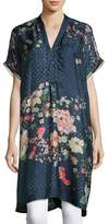 Johnny Was Luda Short-Sleeve V-Neck Silk Twill Printed Tunic, Plus Size