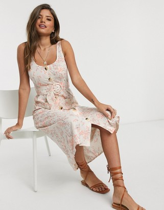 ASOS DESIGN button through linen midi sundress with self covered belt in ditsy floral print