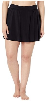 Magicsuit Plus Size Solid Jersey Tennis Skirt (Black) Women's Swimwear