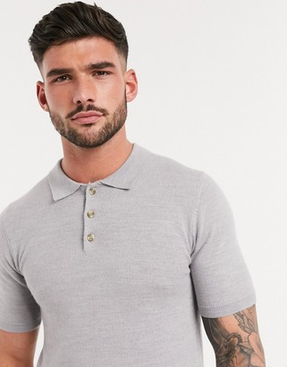 ASOS DESIGN short sleeve muscle fit merino polo in grey