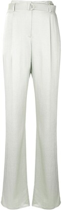 Sally LaPointe Crinkle Satin Belted Trousers