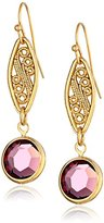 Swarovski 1928 Jewelry Gold-Tone Amethyst Purple Genuine Crystal Drop Earrings