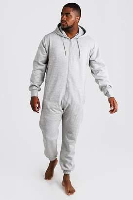 BoohoomanBoohooMAN Mens Grey Big & Tall Zip Through Hooded Onesie, Grey