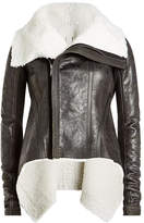 Rick Owens Leather and Shearling Asymmetric Jacket