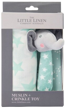 The Little Linen Company Muslin Wrap & Crinkle Toy - Seafoam Elephant