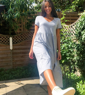 Noisy May Tall tiered smock dress in grey