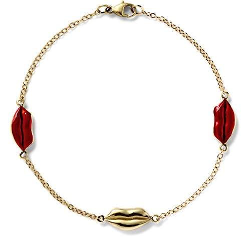 Alison Lou Women's 14ct Yellow Gold and Red Enamel Lips BTY Bracelet of Length 16.51cm