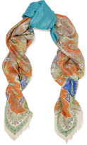 Etro Paisley-print Metallic Modal And Silk-blend Scarf - Blue