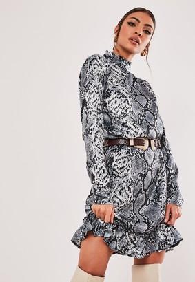 Missguided Petite Grey Animal Print Drop Waist Smock Dress