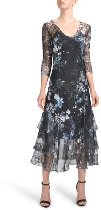 Komarov Floral Tiered Hem Chiffon Dress