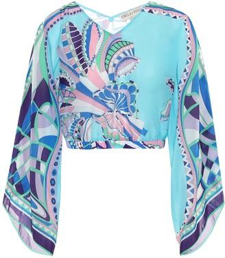Emilio Pucci Beach Printed cotton-blend top