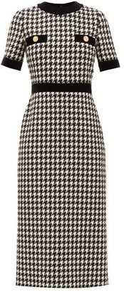 Gucci Houndstooth Wool-blend Dress - Womens - Black White