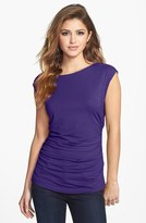 Vince Camuto Boatneck Side Ruched Tee (Petite)