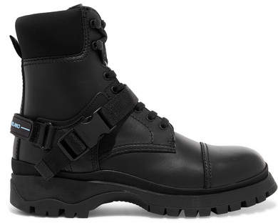 Prada Logo-embossed Rubber And Neoprene-trimmed Leather Ankle Boots - Black