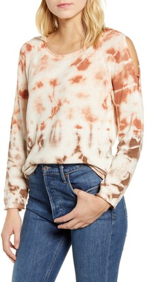 Wit & Wisdom Tie Dye Cold Shoulder Cotton Sweater