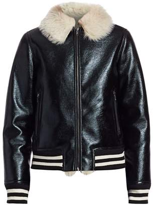 Mother Coated Faux Fur-Collar Stripe-Trim Bomber Jacket