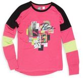 Puma Girl's Long Sleeve Colorblock Graphic Tee