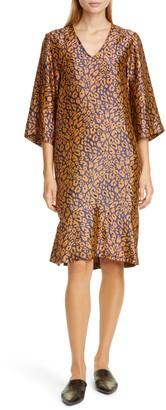 Zero Maria Cornejo Lumi Cheetah Jacquard Shift Dress