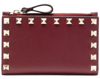 Valentino Rockstud Leather Card And Coin Purse - Burgundy