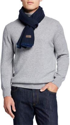 Hickey Freeman Men's Herringbone Merino Wool Scarf