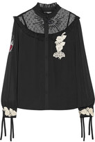 RED Valentino Embroidered Point D'esprit-paneled Appliqued Chiffon Blouse
