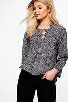 boohoo Petite Haley Printed Lace Up Shirt black