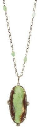 Ileana Makri Earth Tone Diamond, Chrysoprase & Silver Necklace - Womens - Multi