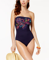 Anne Cole Embroidered Bandeau One-Piece Swimsuit