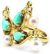 Oscar de la Renta Pearly Cabochon Drop Ring, Golden/Turquoise