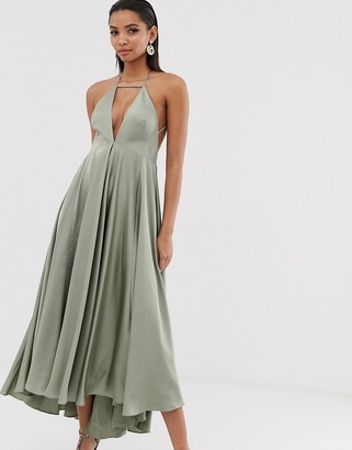 Asos Edition EDITION plunge cami midi dress with full skirt-Green