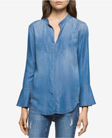 Calvin Klein Jeans Bella Chambray Bell-Sleeve Top