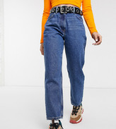Collusion COLLUSION x006 Petite mom jeans in dark stone wash blue
