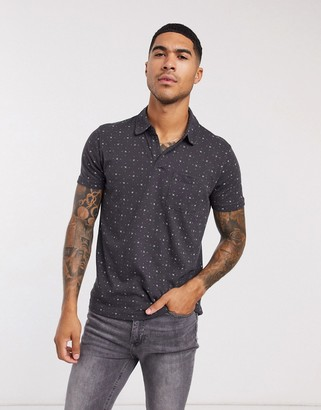 Abercrombie & Fitch geometric polo in black