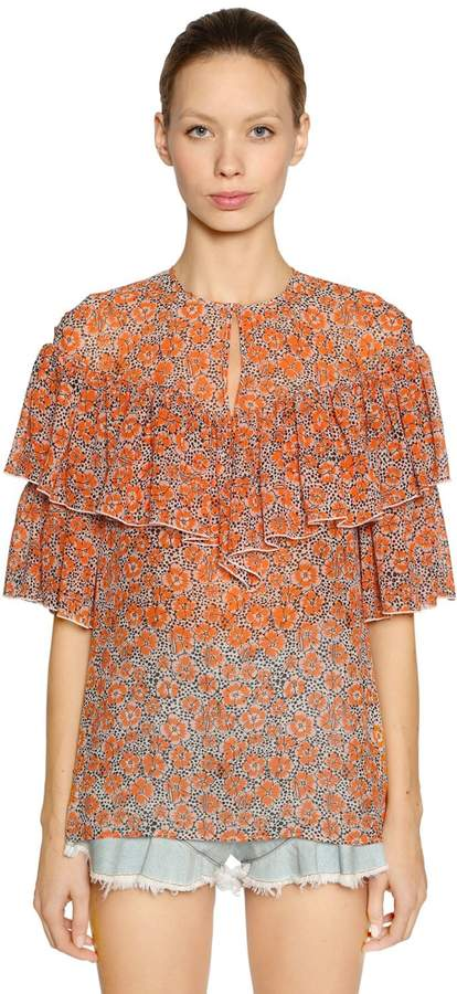 Giamba Ruffled Floral Print Silk Georgette Top