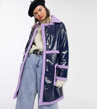 Reclaimed Vintage inspired oversized vinyl shearling mix coat-Blue