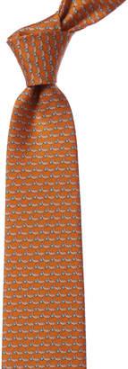 Salvatore Ferragamo Orange Dolphins Silk Tie