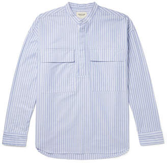 Fear Of God Oversized Grandad-Collar Striped Cotton Oxford Half-Placket Shirt